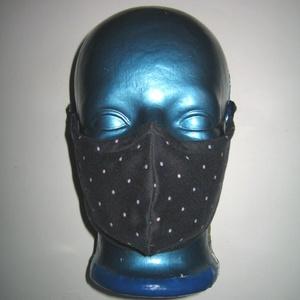 Pöttyös szájmaszk orrmerevítős arcmaszk 2in1 biciklis maszk sötétkék pasztell pöttyökkel, Maszk, Arcmaszk, Női, Varrás, Újrahasznosított alapanyagból készült termékek, Igényesen elkészített, mosható, vasalható, mindkét felén hordható, háromrétegű szájmaszk. A felső ré..., Meska