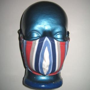 Csíkos Szájmaszk orrmerevítős arcmaszk fülre akasztható védő maszk , Női, Maszk, Arcmaszk, Varrás, Egyedi, igényesen elkészített, mosható, vasalható, mindkét felén hordható, háromrétegű szájmaszk. A ..., Meska