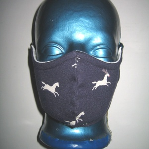 Szájmaszk-drótos-fülre akasztható arcmaszk biciklis maszk Lovas sötétkék-fehér, Maszk, Arcmaszk, Női, Varrás, Újrahasznosított alapanyagból készült termékek, Meska