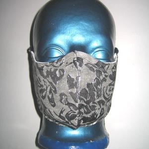 Exkluzív női szájmaszk fülre akasztható szürke-ezüst, Maszk, Arcmaszk, Női, Varrás, Meska