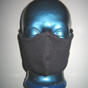Egyedi szájmaszk orrmerevítős arcmaszk fülre akasztható védő maszk mélykék-törtfehér - Meska.hu