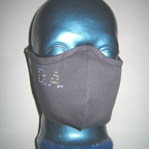 Strasszos egyedi szájmaszk orrmerevítős arcmaszk textil maszk monogrammal, Maszk, Arcmaszk, Női, Varrás, Mindenmás, Meska