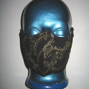 Kottás szájmaszk orrmerevítős arcmaszk 2in1 biciklis maszk  fekete-arany, Maszk, Arcmaszk, Női, Varrás, Meska