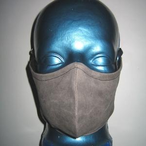 Márványos szájmaszk orrmerevítős arcmaszk fülre akasztható védő maszk szürkésbarna koptatott, Maszk, Arcmaszk, Női, Varrás, Meska