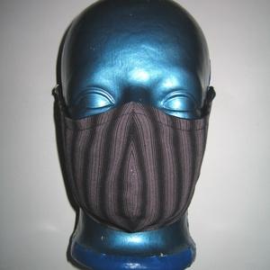 Elegáns szájmaszk fülre akasztható arcmaszk 2in1 textil maszk fekete-szürke-ezüst csíkos, Maszk, Arcmaszk, Női, Varrás, Meska