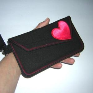 Mobiltok telefon tartó Valentin napra Fekete Pink szívvel - táska & tok - pénztárca & más tok - telefontok - Meska.hu