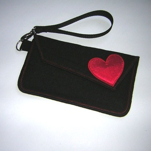 Mobiltok telefon tartó Valentin napra Fekete Pink szívvel, Táska & Tok, Pénztárca & Más tok, Telefontok, Varrás, Meska