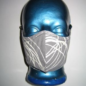 Szájmaszk fülre akasztható arcmaszk 2in1 textil maszk szürke fehér körös, Maszk, Arcmaszk, Női, Varrás, Újrahasznosított alapanyagból készült termékek, Igényesen elkészített, mosható, háromrétegű, mindkét felén hordható szájmaszk. Fülre akasztható.\nMér..., Meska