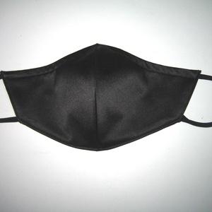 Szatén szájmaszk fülre akasztható textil maszk Fekete - Meska.hu