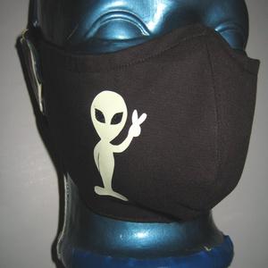 Földönkívüli szájmaszk fülre akasztható  arcmaszk textil maszk sötétben világító Alien - Meska.hu
