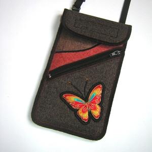 Mobiltok plus-os telefonokhoz elől cipzáros kis zsebbel  Barna Narancssárga lepkés, Táska & Tok, Pénztárca & Más tok, Telefontok, Varrás, Meska