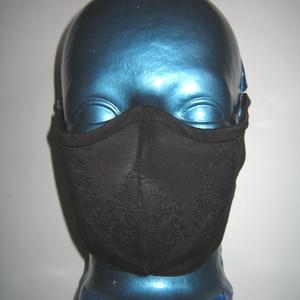Szájmaszk fülre akasztható orrmerevítős arcmaszk  textilmaszk   Fekete magában mintás - Meska.hu