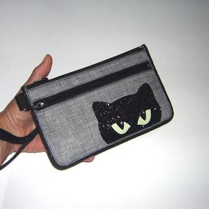 Csuklótáska Mobiltok  cipzáros zsebbel XL telefon tartó cicás neszi pénztárca fényvisszaverő szemek - Meska.hu