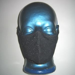 Sötétkék-Ezüst csillogó szájmaszk orrmerevítős fülre akasztható maszk exkluzív textilmaszk, Maszk, Arcmaszk, Női, Varrás, Meska