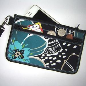 Csuklótáska Mobiltok  cipzáros zsebbel XL telefon tartó virágos neszi pénztárca  - táska & tok - pénztárca & más tok - telefontok - Meska.hu