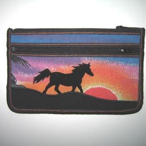 Mobiltok cipzáros zsebbel XL telefon tartó lovas neszi pénztárca Ló naplementében - táska & tok - pénztárca & más tok - telefontok - Meska.hu