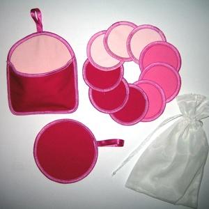 10 db Arctisztító korong tárolóval és mosózsákkal mosható-NoWaste a rózsaszín 3 árnyalata, Szépségápolás, Arcápolás, Arctisztító korong, Varrás, Meska