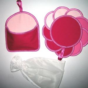 10 db Arctisztító korong tárolóval és mosózsákkal mosható-NoWaste a rózsaszín 3 árnyalata, Szépségápolás, Arcápolás, Arctisztító korong, Varrás, Igényesen elkészített háromrétegű 10 db sminklemosó párna-arctisztító korong felakasztható tárolóval..., Meska