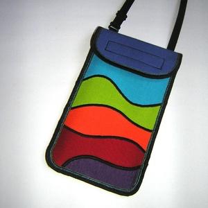 Rainbow mobiltok állítható pánttal nyakba akasztható kistáska Szivárvány , Táska & Tok, Pénztárca & Más tok, Telefontok, Varrás, Patchwork, foltvarrás, Meska