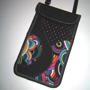 Mobiltok állítható pánttal  XL telefon tartó nyakba akasztható kistáska Színes, Táska & Tok, Pénztárca & Más tok, Telefontok, Varrás, Patchwork, foltvarrás, Meska