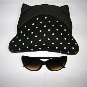 Egyedi szemüvegtok pöttyös cica, Táska & Tok, Pénztárca & Más tok, Szemüvegtok, Varrás, Meska