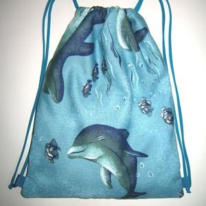 Delfines Gymbag  zsinóros hátizsák tornazsák, Táska & Tok, Hátizsák, Tornazsák, Gymbag, Varrás, Újrahasznosított alapanyagból készült termékek, Meska