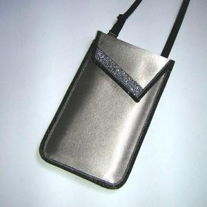 Elegáns Mobiltok állítható pánttal  XL telefon tartó  oldaltáska iPhone kistáska ezüstszürke, Táska & Tok, Pénztárca & Más tok, Telefontok, Varrás, Meska
