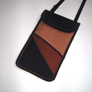 Mobiltok állítható pánttal nagy méretű telefonokhoz 2in1 fekete rozsdabarna-terrakotta-fekete - Meska.hu