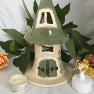 Kerti mécsestartó-kerti fény-zöld, Otthon & Lakás, Ház & Kert, Kerti lámpa, Kerámia, Gyönyörű, egyedi és aprólékosan kidolgozott akár a lakásban, de egy kerti összejöveteleknél is remek..., Meska