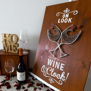 """Borimádó - String Art, Kép & Falikép, Dekoráció, Otthon & Lakás, Könyvszobor, Festett tárgyak, Fonás (csuhé, gyékény, stb.), A termék a Modern String Art ,,Wine lover\"""" kollekciójának egy darabja. \n\nMéret: 40x60cm\n\nMinden term..., Meska"""