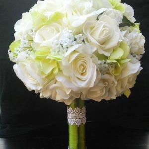 Bűbájos zöld hortenziával, Esküvő, Menyasszonyi- és dobócsokor, Virágkötés, Meska