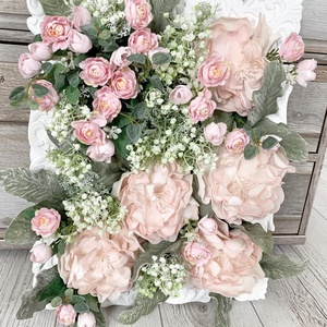 Falikép selyemvirággal , Otthon & lakás, Dekoráció, Kép, Lakberendezés, Falikép, Virágkötés, 40x50 cm-es vintage hangulatú falikép, mely bármely otthon egyedi dísze lehet, ajándéknak is kiváló ..., Meska