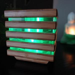Bambusz led lámpás, Otthon & Lakás, Lámpa, Hangulatlámpa, Famegmunkálás, Ez az egyedi lámpás az egyik legsokoldalúbb és szépséges mintázatú fafajtából, bambuszból készült.\nM..., Meska
