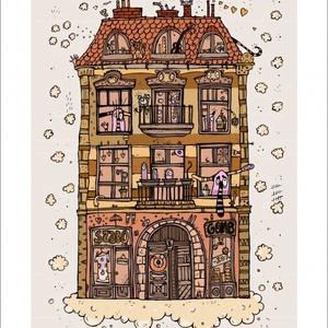 Zoknik háza - számozott művészi nyomat, print, A5 méretben, Otthon & lakás, Képzőművészet, Illusztráció, Lakberendezés, Festészet, Limitált számú digitális reprodukció saját grafikámról, melyből mindössze 120 db nyomat készült.\n\nFA..., Meska