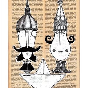 Egy hajóban Budapesten - Illusztráció, számozott nyomat, print, A5, Képzőművészet, Otthon & lakás, Grafika, Lakberendezés, Illusztráció, Festészet, SZÁMOZOTT digitális reprodukció saját grafikámról.\n\nFALVIDÍTÓ:  Pároknak, szerelmeseknek, ajándékba,..., Meska