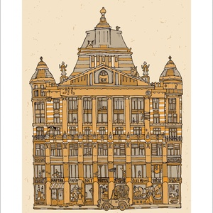 Anker palota - számozott nyomat, illusztráció, print, A5 méretben, Képzőművészet, Otthon & lakás, Illusztráció, Lakberendezés, Festészet, Limitált számú digitális reprodukció saját grafikámról, melyből mindössze 120 db nyomat készült.\n\nFA..., Meska