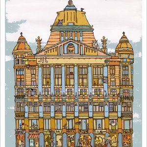 Anker Palota - illusztráció, print saját grafikámról, A4 méretben, Otthon & lakás, Képzőművészet, Illusztráció, Lakberendezés, Festészet, Limitált számú digitális reprodukció saját grafikámról, melyből mindössze 120 db nyomat készült.\n\nFA..., Meska
