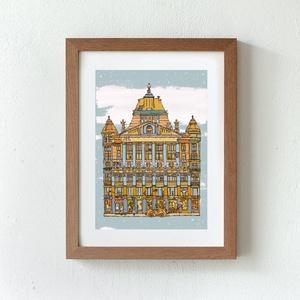 Anker palota - illusztráció, számozott digitális reprodukció, print, saját grafikámról, A5 méretben (MohaVilaga) - Meska.hu