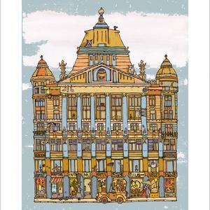 Anker palota - illusztráció, számozott digitális reprodukció, print, saját grafikámról, A5 méretben, Otthon & lakás, Képzőművészet, Illusztráció, Grafika, Lakberendezés, Festészet, LIMITÁLT számú digitális reprodukció saját grafikámról, melyből mindössze 120 db nyomat készült.\n\nAn..., Meska