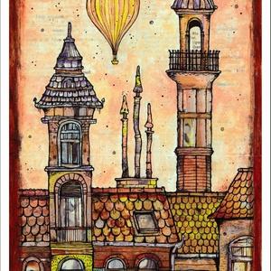 Léghajó Budapesten - számozott művészi nyomat, print, saját grafikámról, A4 méretben, Otthon & lakás, Képzőművészet, Illusztráció, Lakberendezés, Festészet, Limitált számú, sorszámozott digitális reprodukció saját grafikámról, melyből mindössze 120 db nyoma..., Meska