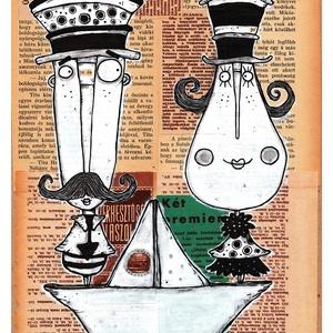Egy hajóban - Illusztráció, számozott művészi nyomat, print, saját grafikámról, A4 méretben, Otthon & lakás, Képzőművészet, Lakberendezés, Illusztráció, Festészet, LIMITÁLT számú digitális reprodukció saját grafikámról, melyből mindössze 120 db nyomat készült.\n\nFA..., Meska