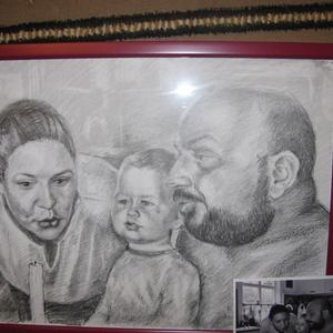 Csoportos portré, Portré, Portré & Karikatúra, Művészet, Fotó, grafika, rajz, illusztráció, Jó minőségű papírra készítek csoportképeket, családi portrékat grafittal. , Meska