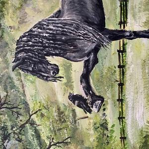 Akril festmény, ló madárral (mohano) - Meska.hu