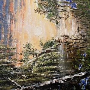 Akril tájkép, , Akril, Festmény, Művészet, Festészet, Saját kezűleg készített akril tájkép feszített vászonra festve. 40*40 cm, Meska