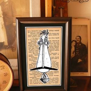Bajusz Őr: a békés otthon védelmezője, keretezett, szignózott nyomat, Képzőművészet, Otthon & lakás, Illusztráció, Lakberendezés, Falikép, Fotó, grafika, rajz, illusztráció, Mindenmás, Keretezett művészi nyomat a békés otthon kedvelőinek.\nSaját grafikámmal.\nKerettel együtt.\nA kép háto..., Meska