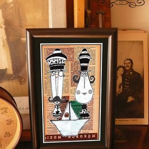 Bajusz Őr Pár: A békés otthon védelmezője, szignózott, keretezett nyomat, Művészet, Művészi nyomat, Fotó, grafika, rajz, illusztráció, Mindenmás, Keretezett művészi nyomat a békés otthon kedvelőinek.\nSaját grafikámmal.\nKerettel együtt.\nA kép háto..., Meska