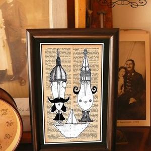 Bajusz Őr Pár: A békés otthon védelmezői, szignózott, keretezett nyomat, Otthon & lakás, Képzőművészet, Illusztráció, Lakberendezés, Fotó, grafika, rajz, illusztráció, Mindenmás, Keretezett művészi nyomat a békés otthon kedvelőinek.\nSaját grafikámmal.\nKerettel együtt.\nA kép háto..., Meska
