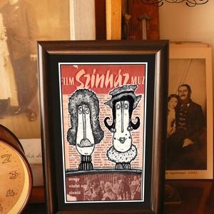 Bajusz Őr Pár: A békés otthon védelmezői, szignózott, keretezett nyomat, Képzőművészet, Otthon & lakás, Illusztráció, Lakberendezés, Esküvő, Fotó, grafika, rajz, illusztráció, Mindenmás, Keretezett művészi nyomat a békés otthon kedvelőinek.\nSaját grafikámmal.\nKerettel együtt.\nA kép háto..., Meska