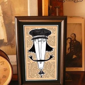 Bajusz Őr: A békés otthon védelmezője, szignózott, keretezett nyomat, Otthon & lakás, Lakberendezés, Képzőművészet, Grafika, Illusztráció, Fotó, grafika, rajz, illusztráció, Mindenmás, Keretezett művészi nyomat a békés otthon kedvelőinek.\nSaját grafikámmal.\nKerettel együtt.\nA kép háto..., Meska