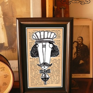 Bajusz Őr: A békés otthon védelmezője, szignózott, keretezett nyomat, Művészet, Grafika & Illusztráció, Fotó, grafika, rajz, illusztráció, Mindenmás, Keretezett művészi nyomat a békés otthon kedvelőinek.\nSaját grafikámmal.\nKerettel együtt.\nA kép háto..., Meska